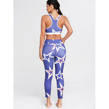 Stars Printed U Neck Bra and Sports Leggings - L L