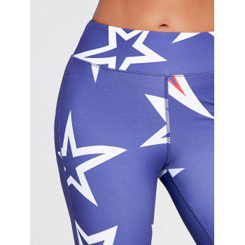 Stars Printed U Neck Bra and Sports Leggings - BLUE BLUE