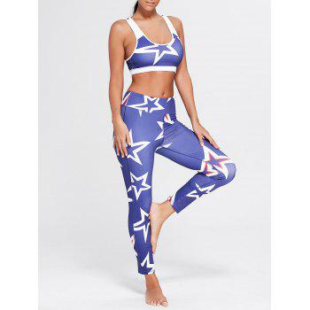 Stars Printed U Neck Bra and Sports Leggings - BLUE L