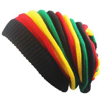 Rainbow Stripe Knitted Fold Beanie Hat
