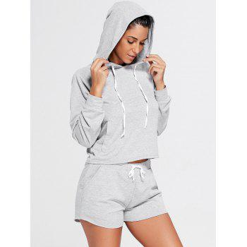 Sports Hoodie and  Drawstring Shorts - GRAY S