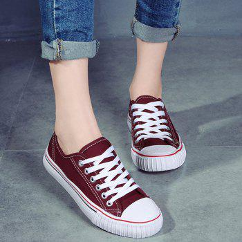 Round Toe Canvas Sneakers - RED 39