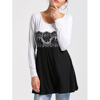 Lace Panel Long Sleeve Tunic Top - WHITE AND BLACK M