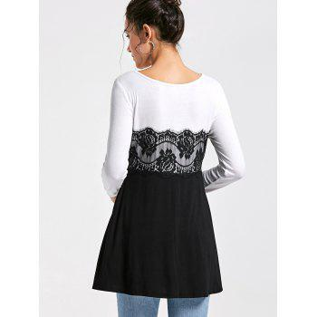 Lace Panel Long Sleeve Tunic Top - L L