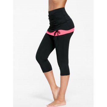 Two Tone Shirred Skirted Capris - FLUORESCENT PINK FLUORESCENT PINK