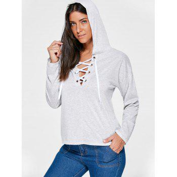 Drop Shoulder Lace Up Hoodie - XL XL