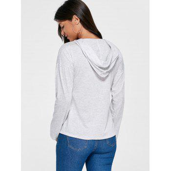 Drop Shoulder Lace Up Hoodie - LIGHT GRAY LIGHT GRAY