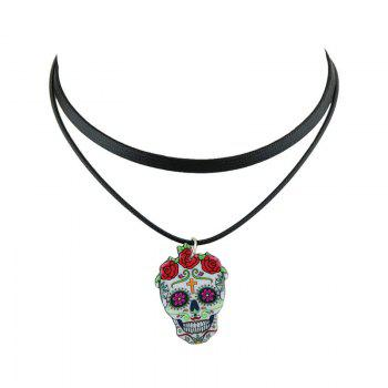 Artificial Leather Crucifix Skull Flower Choker Necklace - BLACK BLACK