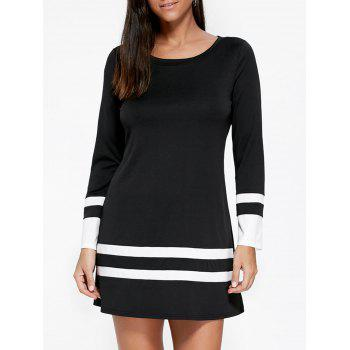 Two Tone Long Sleeve Tee Dress - BLACK BLACK
