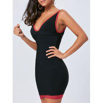 Color Block V Neck Bodycon Bandage Dress - BLACK BLACK