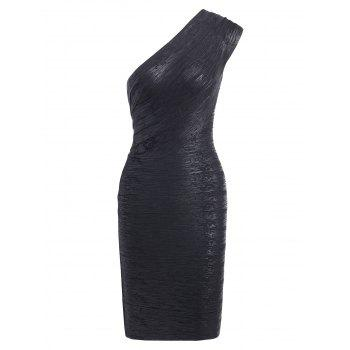 Bronzing One Shoulder Bodycon Bandage Dress