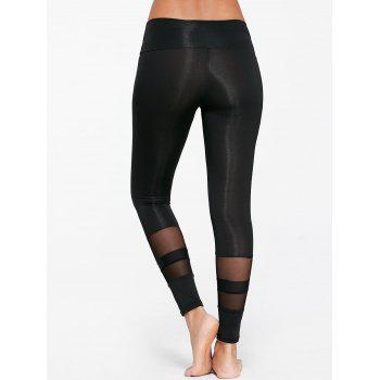 Sheer Mesh Insert Sports Tights - BLACK BLACK