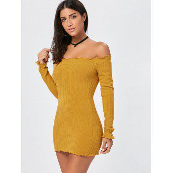 Off The Shoulder Mini Bodycon Sweater Dress - YELLOW YELLOW