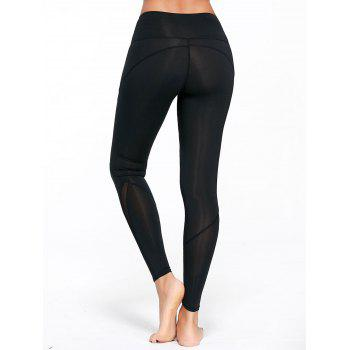 High Rise Mesh Panel Workout Leggings - BLACK BLACK