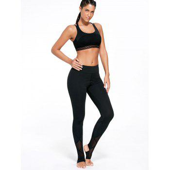 High Waist Yoga Stirrup Leggings - BLACK BLACK