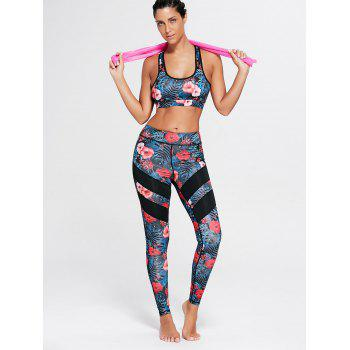 Racerback Bra Top and Floral Mesh Workout Leggings - FLORAL FLORAL