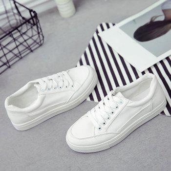 Eyelet Stitching Canvas Shoes - WHITE WHITE
