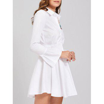 Embroidery Flare Sleeve Button Up Shirt Dress - WHITE WHITE