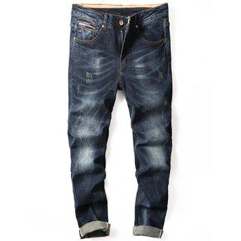 Straight Leg Zipper Fly Cuffed Jeans - DENIM BLUE DENIM BLUE