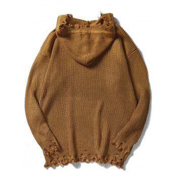 Drawstring Hooded Knitted Ripped Sweater - COFFEE L