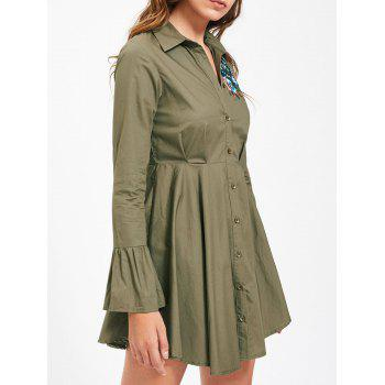 Embroidery Flare Sleeve Button Up Shirt Dress - ARMY GREEN ARMY GREEN
