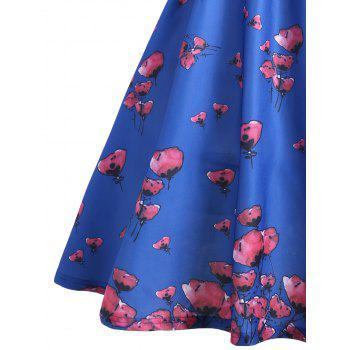 Floral Scalloped Neck Vintage A Line Dress - BLUE BLUE