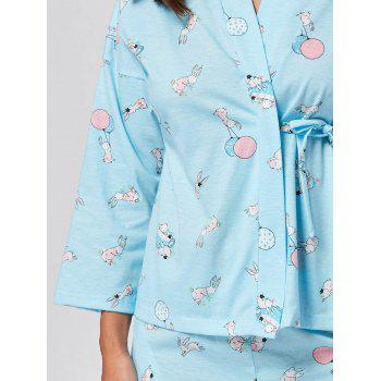 Wrap Printed Cotton Pajamas Set - LIGHT BLUE LIGHT BLUE