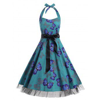 Butterfly Print Halter A Line Vintage Dress - DEEP GREEN DEEP GREEN