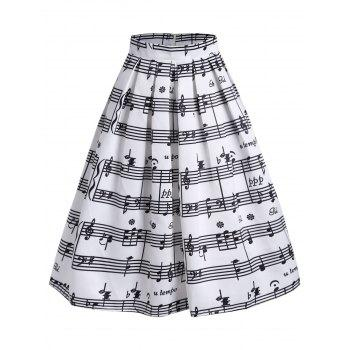 High Waist Music Notes Midi Skirt - WHITE WHITE