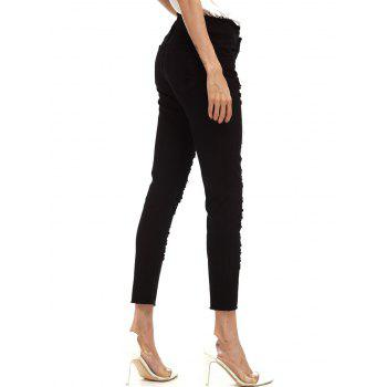 Ripped Cigarette Cropped Pants - BLACK BLACK
