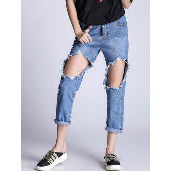Ripped Hole Boyfriend Jeans - BLUE BLUE