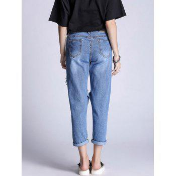 Ripped Hole Boyfriend Jeans - BLUE M