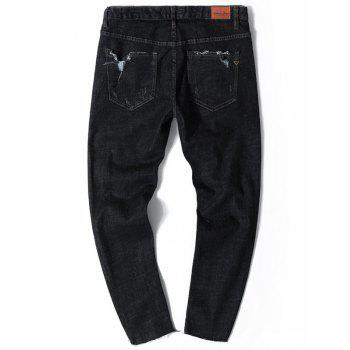Distressed Nine Minutes of Tapered Jeans - BLACK BLACK