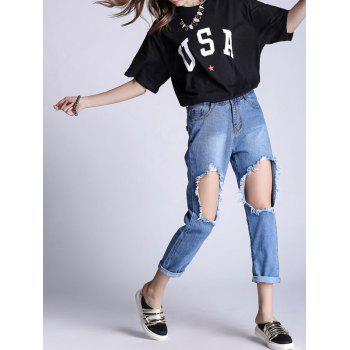 Ripped Hole Boyfriend Jeans - BLUE L