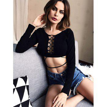 Long Sleeve Lattice Crop Top - BLACK S