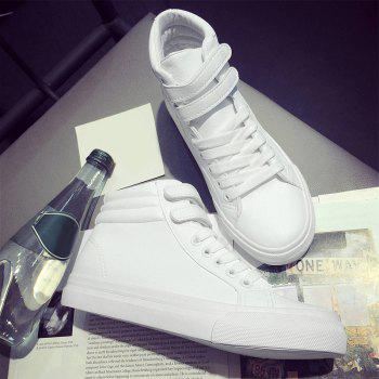 High Top Stitching Athletic Shoes - WHITE WHITE