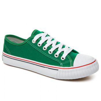 Round Toe Canvas Sneakers - GREEN GREEN