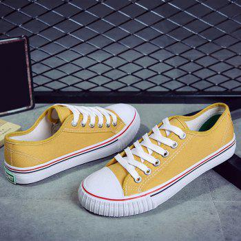 Round Toe Canvas Sneakers - YELLOW YELLOW