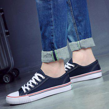 Round Toe Canvas Sneakers - BLUE BLUE