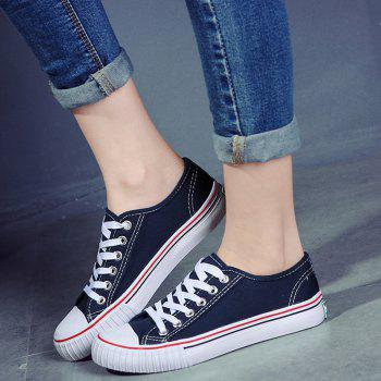 Round Toe Canvas Sneakers - BLUE 37