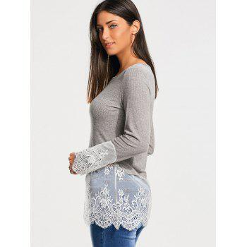 Lace Trim Casual Knit Top - GRAY GRAY