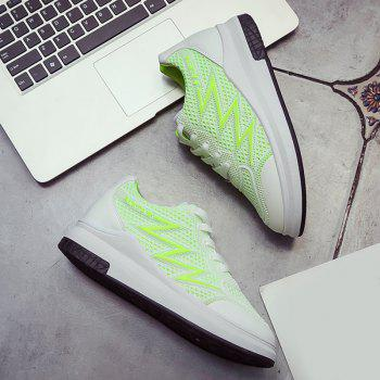 Breathable Faux Leather Panel Athletic Shoes - NEON GREEN NEON GREEN