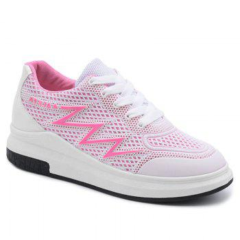 Breathable Faux Leather Panel Athletic Shoes - PINK PINK