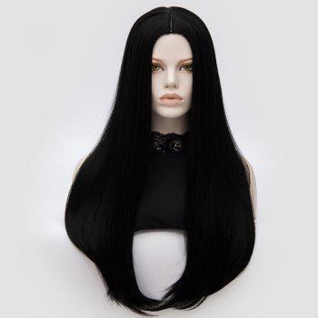 Long Center Part Straight Tail Adduction Cosplay Wig - BLACK