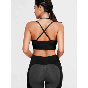 Strappy Cross Back Plunge Sports Bra - BLACK BLACK