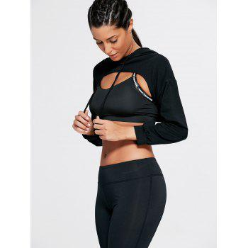 Long Sleeve Open Front Sports Cropped Hoodie - BLACK ONE SIZE