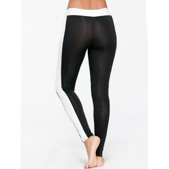 Two Tone Sports Tights - BLACK XL
