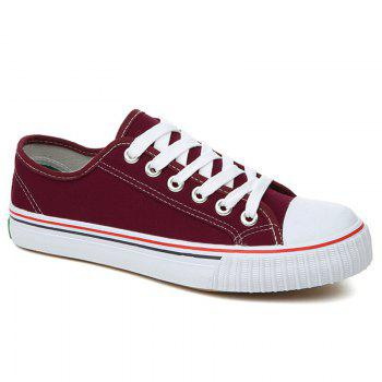Round Toe Canvas Sneakers - RED RED