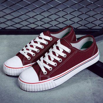 Round Toe Canvas Sneakers - RED 40