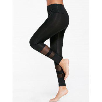 Sheer Mesh Insert Sports Tights - BLACK M